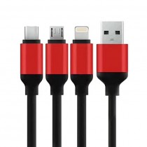 3 in 1 Data and Charging Cable Android iPhone Type-C Sync Charge Cable