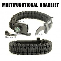 Survival Paracord Bracelet 16 in 1 Stone Whistle Fire Knife Compass Thermometer Multifunction Tool