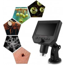 Digital Microscope 4.3in HD LED 3.6Mp 600X Continuous Magnifier