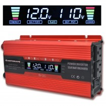 SUOER Power Inverter DC 12V to 220V 500W 1000W AC Converter with LCD Display Dual AC Outlets Compact Size and 2A USB