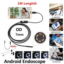 Endoscope camera 480P HD 7mm 1m Waterproof 2 in 1 PC Android