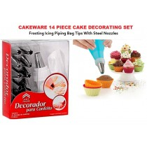 Cake Decorating Set 14 Piece with Piping Bag Stainless Steel Frosting Nozzles