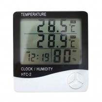 HTC-2 3in1 Indoor Alarm Clock  LCD Electronic Temperature Humidity Meter