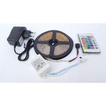 5M Rgb Watereproof 3528 Remote Control Led Strip Light Kit With Adapter