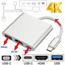 Type C USB 3.1 to USB-C 4K HDMI USB 3.0 Adapter Cable 3 in 1 Hub For Laptops Smartphones and TVs