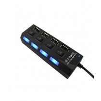 USB Hub Switch 4 Ports Portable High Speed USB 2.0 Hub 480 Mbps On/Off