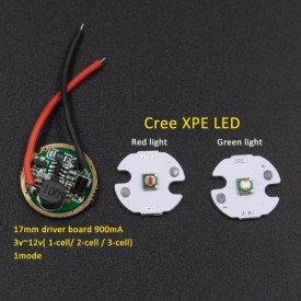 16mm Cree XPE Green Red light LED Chip + 17mm 1-mode 3v~12v Input 900mA Circuit Board for Cree 3w 5w Q5 XPE XP-G2 LED Flashlight