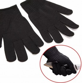 1 Pair Black Anti Cut Resistance Gloves Stainless Steel Wire Safety Abrasion Gloves Working Mesh Butcher