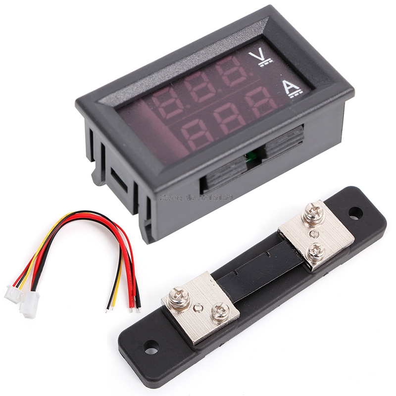 DC 100V 50A Red Blue Digital Voltmeter Ammeter 2 in1 DC Volt Amp Meter Dc External Shunt Amp Meter Wiring Diagram on